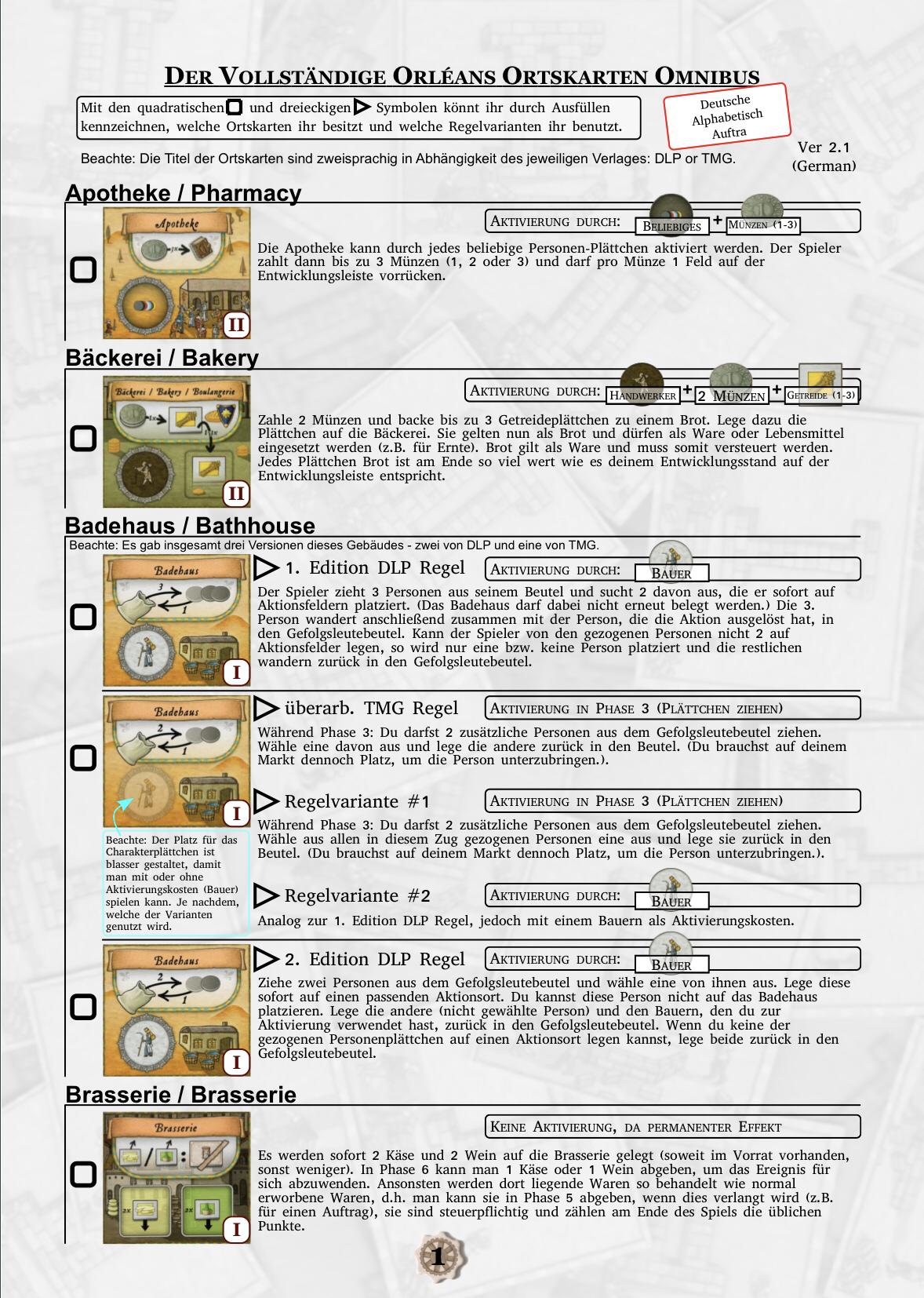 Seite eins des Orléans Ortskarten Katalogs