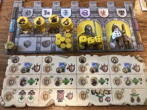 Spielertableau von Merlin bei Queen Games