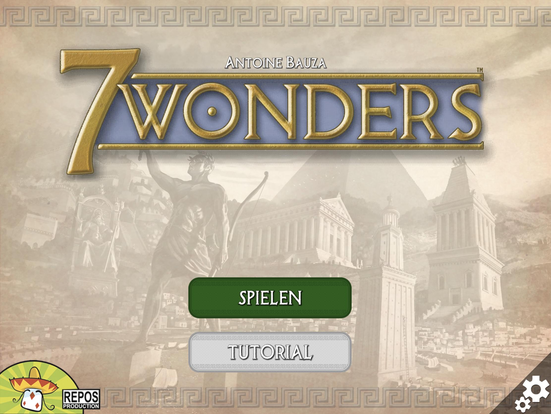 7 Wonders App Eröffnungsbildschirm