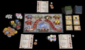 Übersichtlicher Spielaufbau bei Istanbul - Das Würfelspiel (Quelle: Pegasus)