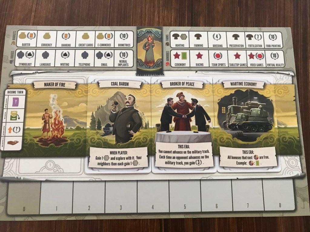 Tapestry Stonemaier Games Feuerland Spiele persönlicher Spielplan